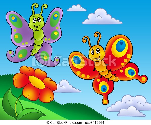 Two butterflies with red flower color illustration drawing two butterflies with red flower csp3419964 voltagebd Image collections