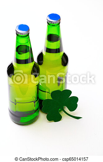 Two buttle of green beer on white background - csp65014157