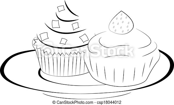 Two cakes on a plate - csp18044012  sc 1 st  Can Stock Photo & Two cakes on a plate illustration.