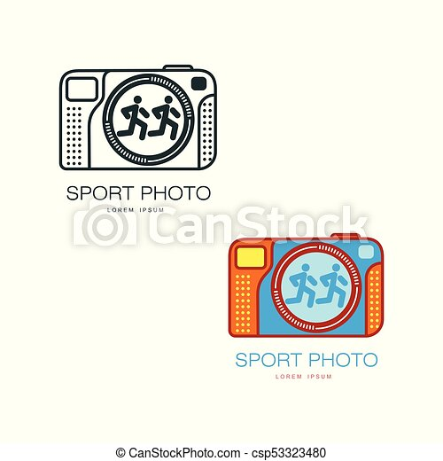 two camera logo templates for sport photographer vector