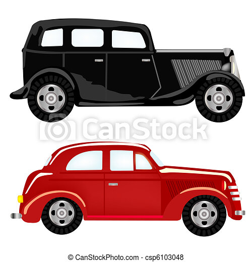 Two Cars Black And Red Colour Two Cars Black And Red On White