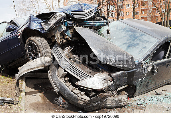 two cars car broken during road accident - csp19720090