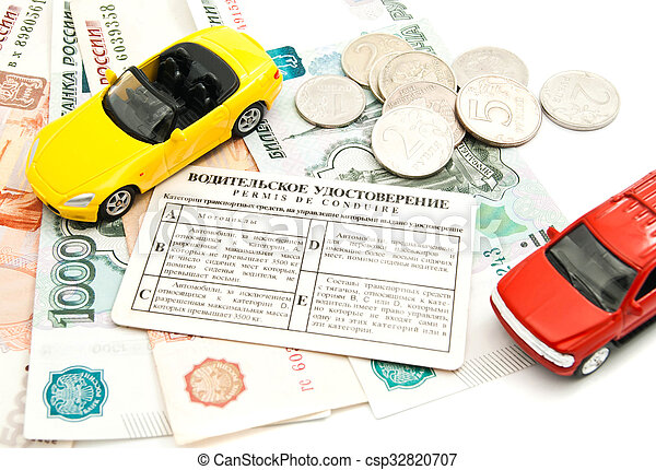 two cars, driving license and banknotes - csp32820707