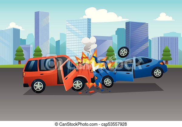 Two Cars in an Accident Illustration - csp53557928
