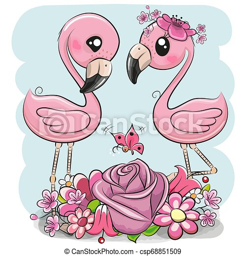 Two Cartoon Flamingos On A Blue Background Two Cute Cartoon Flamingos With Flowers On A Blue Background
