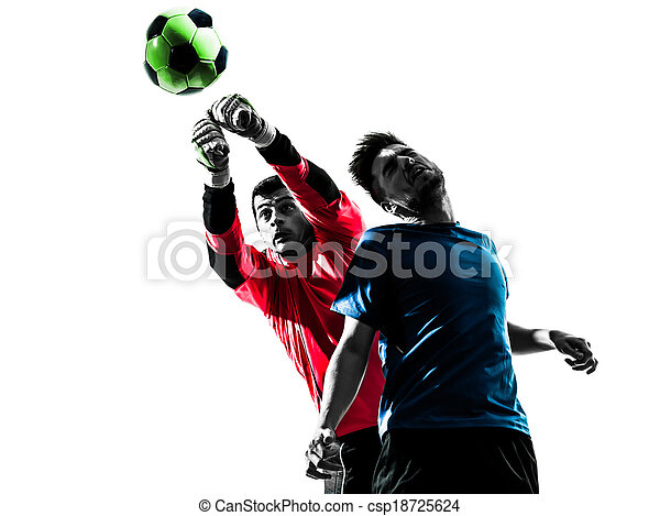 two caucasian soccer player goalkeeper men punching heading ball competition in silhouette isolated white background - csp18725624