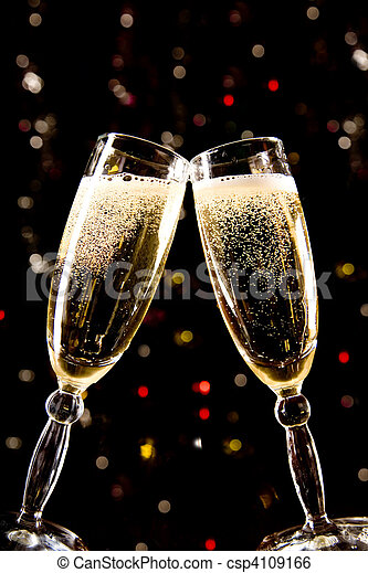 Two champagne glasses making toast - csp4109166