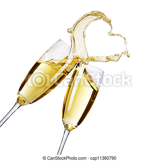 Two Champagne Glasses With Abstract Splash - csp11360790