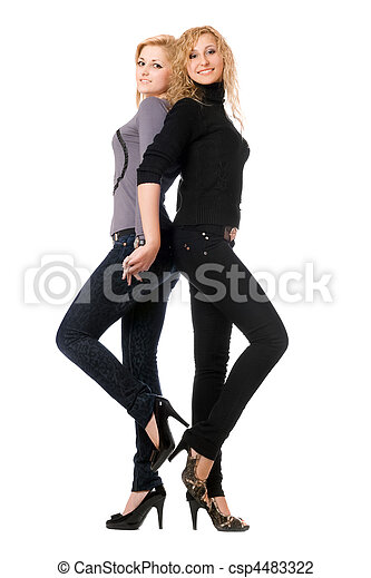 Two cheerful young women. Isolated - csp4483322