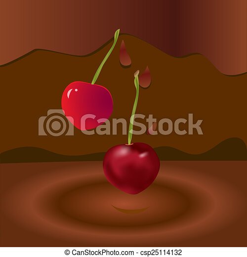 two cherries and chocolate - csp25114132