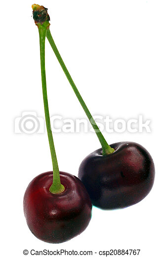 Two cherries on a branch isolated - csp20884767