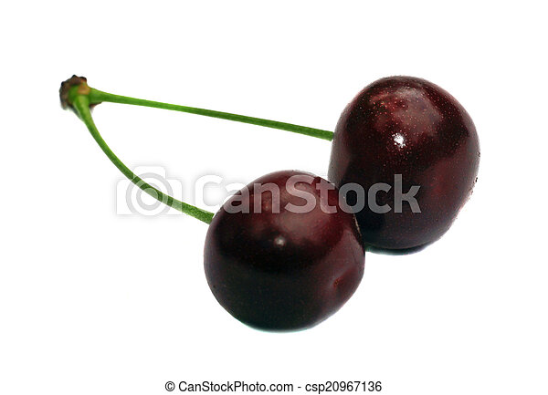 Two cherries on a branch isolated - csp20967136