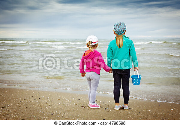 two children by the sea - csp14798598