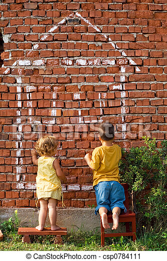 Two children drawing a house - csp0784111