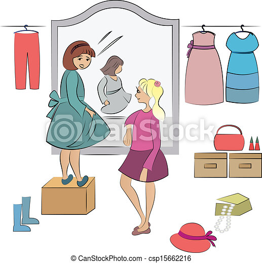 two children in wardrobe - csp15662216