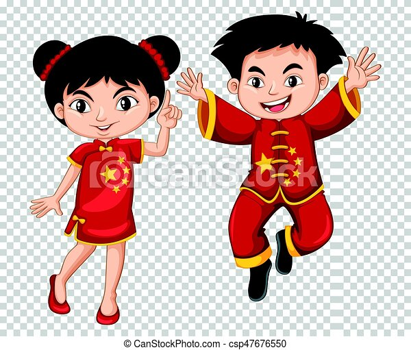 Two Chinese kids in red costume - csp47676550
