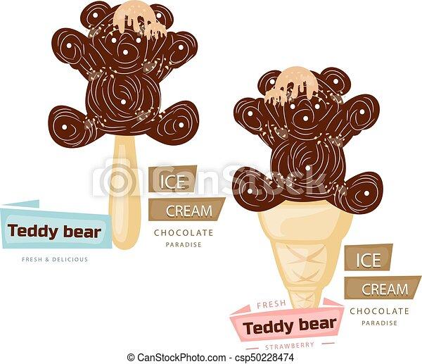 Two chocolate ice cream (teddy bear), cartoon on a white background. - csp50228474