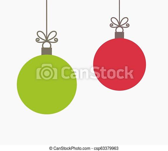 Christmas Ornaments Vector.Two Christmas Balls Hanging