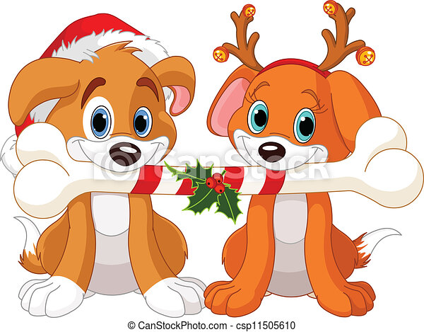 two christmas dogs two christmas dogs holding decorated bone rh canstockphoto com christmas dog bone clipart christmas pets clipart