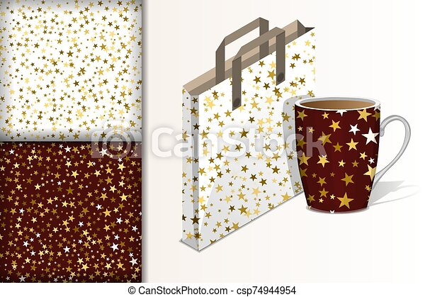 Two christmas seamless patterns, Bag and cup and mockup with stars on white and brown background Concept for design of fabric and paper for printing - csp74944954