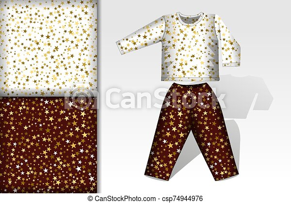 Two christmas seamless patterns, Pajamas and mockup with stars on white and brown background Concept for design of fabric and paper for printing - csp74944976