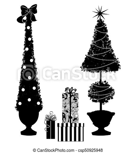Two Christmas Topiary Trees With Gifts - csp50925948