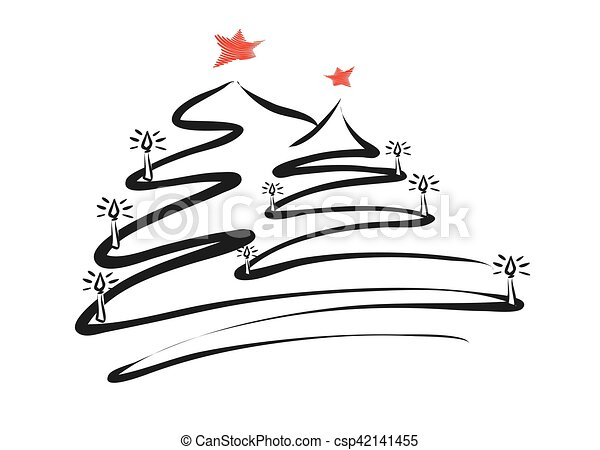 Drawing Christmas Tree Sketch.Two Christmas Trees Line Drawing By Pen