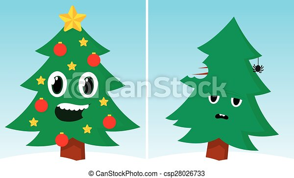 Line Drawing Xmas : Two christmas trees one happy sad after xmas funny vectors