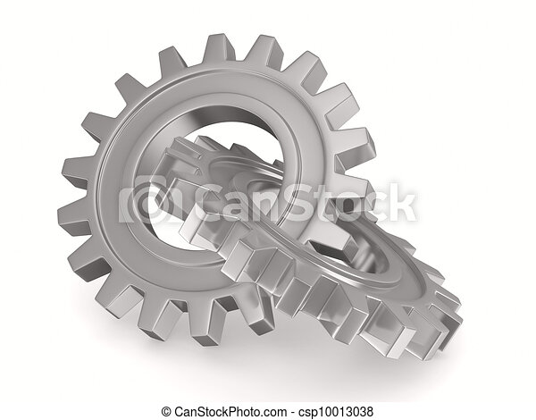 Two chrome gears on white background. Isolated 3D image - csp10013038