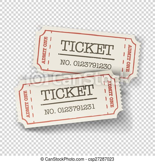 Two cinema tickets (pair). Isolated on transparent background, vector illustration. - csp27287023