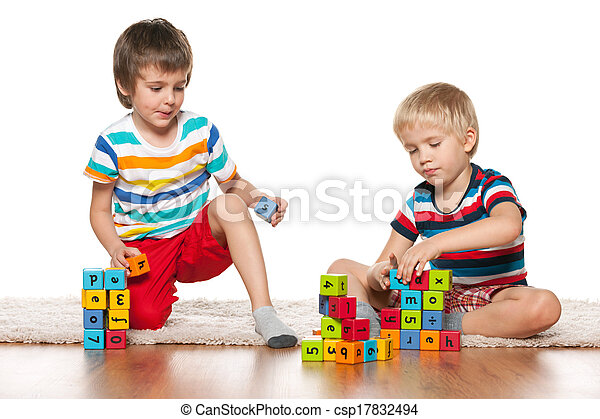 Two clever boys with blocks - csp17832494