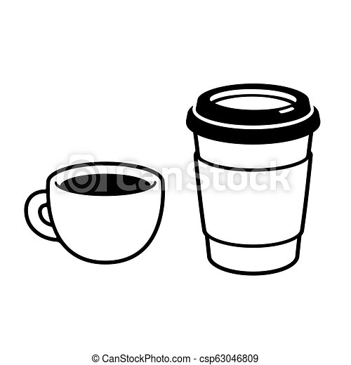 bc219e606620 Two coffee cups drawing. Coffee cups: espresso mug and disposable ...