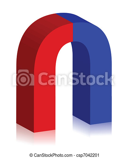 two-colored magnet 3d illustration  - csp7042201