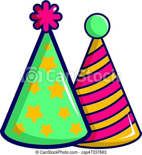 two colorful party hats icon cartoon style two colorful clip rh canstockphoto com clipart party hat party hat clipart transparent background