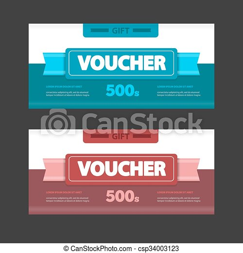 Two coupon voucher design gift voucher template with amount