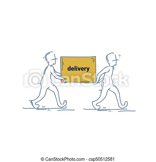 Two Courier Man Carry Box Delivery Service Doodle - csp50512581