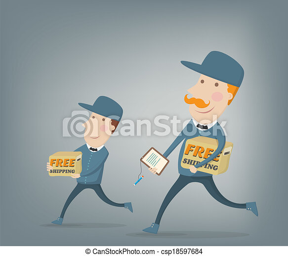 Two couriers delivering packages - csp18597684