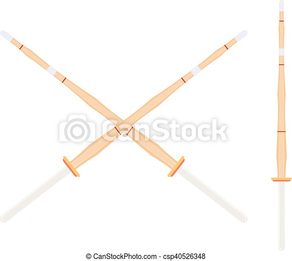 Two crossed bamboo training sword for kendo classes  Wooden Japanese  swords, kendo art  Shinai sword  Vector kendo weapon