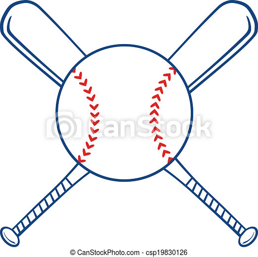 two crossed baseball bats and ball illustration isolated on white rh canstockphoto com crossed baseball bats clipart