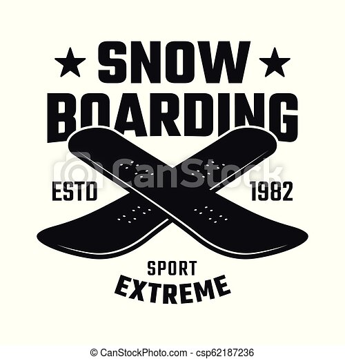 Two crossed boards emblem for snowboarding club - csp62187236