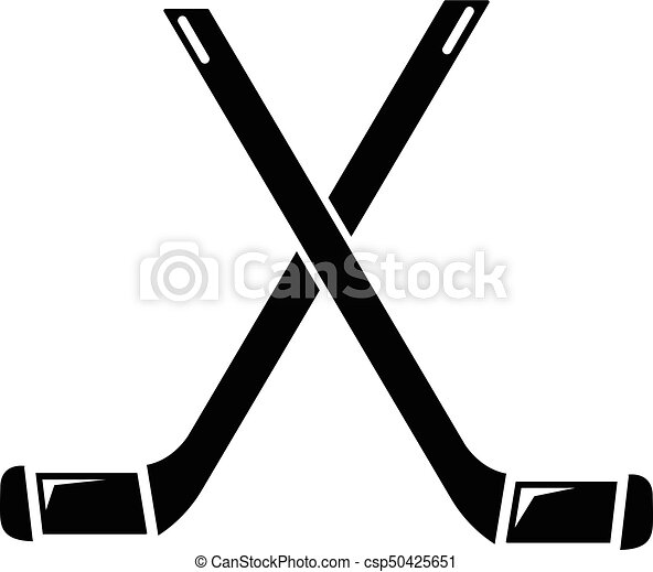 two crossed hockey sticks icon simple style two crossed hockey rh canstockphoto com hockey stick clip art free hockey stick puck clipart