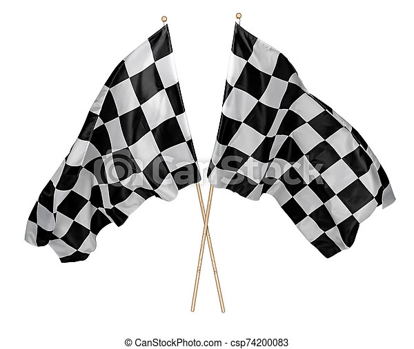 Two crossed pair of waving black white chequered flag with wooden stick motorsport sport racing concept isolated background - csp74200083