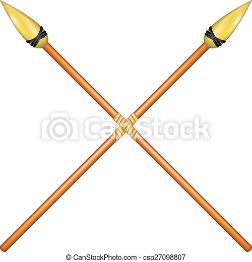 two crossed spears with golden tip on white background vector rh canstockphoto com black spear clipart spear fishing clipart