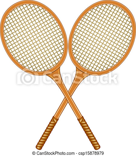 Two Crossed Tennis Rackets In Vintage Design On White Background
