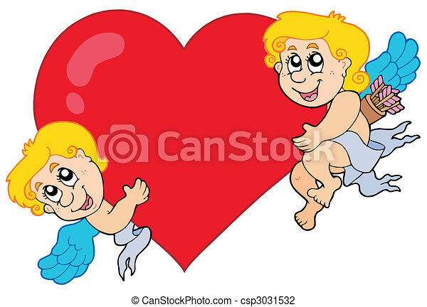 Two Cupids holding heart - csp3031532