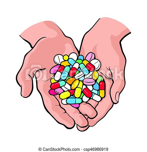 two cupped hands holding handful pile of colorful pills vector rh canstockphoto com Blue Pile of Pills Pile of Pill Bottles