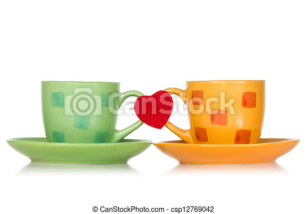 Two cups with red heart - csp12769042