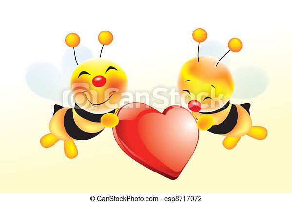 Line Art Bee : Two cute bees in love bringing glossy heart while flying vector