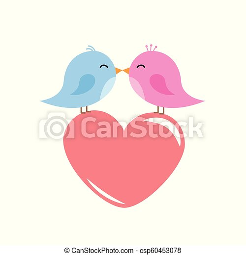 Two Cute Birds Are Kissing Red Heart Cartoon