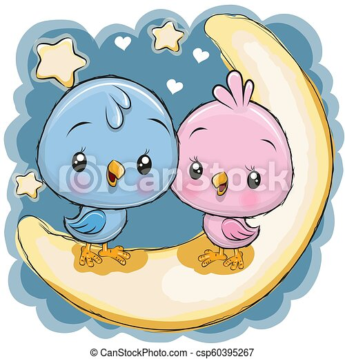 Two Cute Birds Is Sitting On The Moon Two Cute Cartoon Birds Is Sitting On The Moon